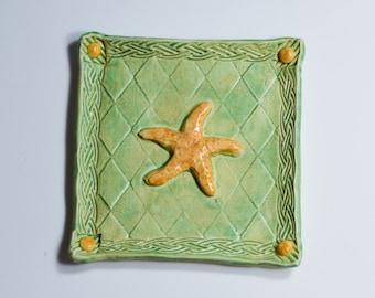 Ceramic Tray Starfish - Ring Dish - Trinket Tray