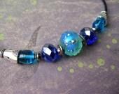 Bright Water - blue green purple silver jewelry set