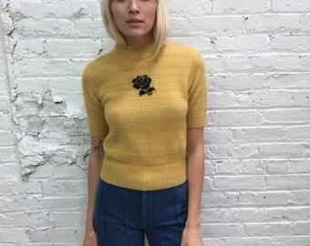 1950s mustard yellow school girl sweater / 50s mock neck short sleeve sweater with rose motif