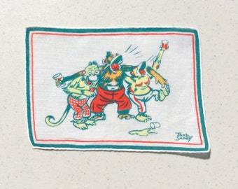 Vintage Textile Tony Sarg Drunken Monkeys Sing a Song