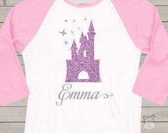 Personalized glitter castle raglan shirt - sweet shirt for your little princess