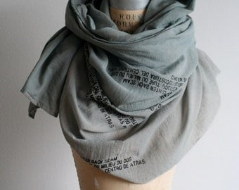 sale, Gray Soft Scarf, Large Scarves, Fashion Accessories, Screen Printed Text , Brooklyn