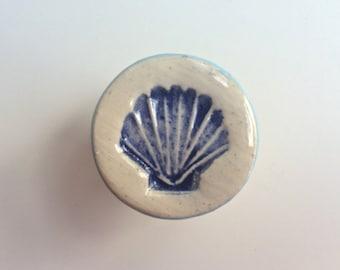 Blue Scallop Seashell Knob