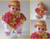 Huggums Doll Poncho and Brimmed Hat, Orange, Pink, Yellow  2 Piece Set, Fits Huggums Baby Doll, Cotton Doll Clothes, Doll Poncho and Hat