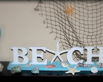 BEACH sign with starfish, FREE SHIPPING, white on aqua, wooden letters and base, distressed, nautical home decor