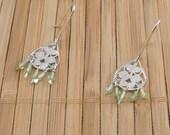 Tiny Peridot Earrings Sage Green Dangles Chandelier Earrings Small Silver Dangle Green Birthstone Light Green Gemstone Drops Tiny Green Gem