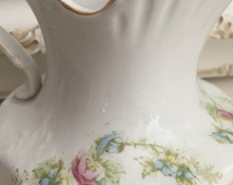 Vintage Porcelain Small Pitcher - Pink Rose Bud - Aqua Ribbon - Shabby Chic Decor