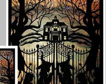 Halloween Print, Witch Print,  Halloween folk art  Scary Halloween Art Print, Halloween Decor, Children