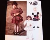 Vintage Little Vogue Pattern Toddler Size 2 3 4 UNCUT Toddler Girls Drop Waist Dress with Bottom Variations Sewing Pattern
