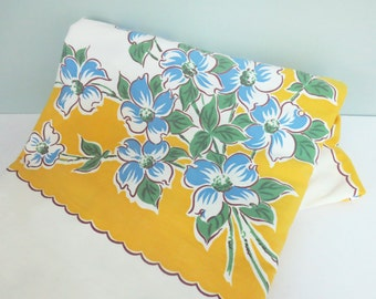 1950s Tablecloth, Yellow with Blue Dogwood Flowers, Extra Large in Size, a Beauty!