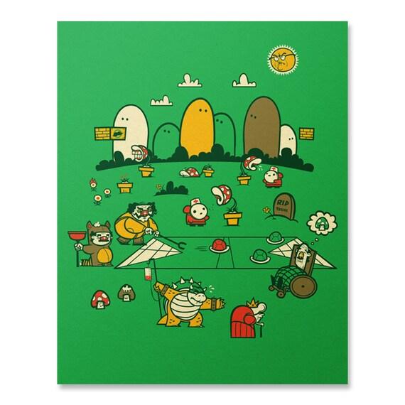 Nintendo Wall Art mario bros art print / mario wall art / nintendo artwork /