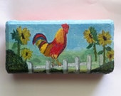 Chicken Art, Chicken Painting, Painted Paver, Painted Doorstop, Rooster Painting, Kitchen Art, Animal Painting, Farm Animal Painting,