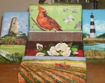 Painted Pavers, Painted Doorstop,  Paintings On Brick,  Collectible Gift, Handpainted Brick, Acrylic Painting,  Art For Table,  Art For Gift