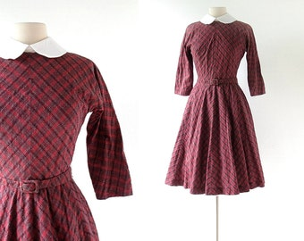 Vintage 50s Dress | Girl Next Door | Red Plaid Dress | 1950s Dress | XS S