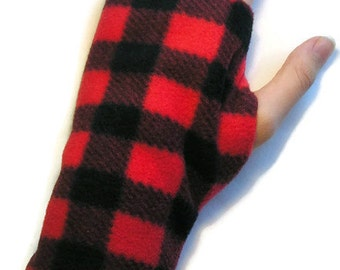 LADIES Fingerless Gloves / Mittens Warmers Fleece - Red and Black Checked