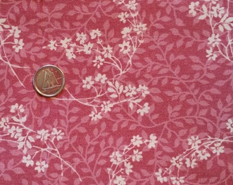 PK031 ~ Pink floral fabric Mauve fabric White flowers Quilting fabric Quilt fabric