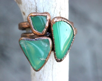 Raw Crystal Ring Chrysoprase Ring Raw Stone Ring Natural Stone Ring Green Stone Ring Natural Stone Jewelry Raw Crystals and Stones Size 7.75