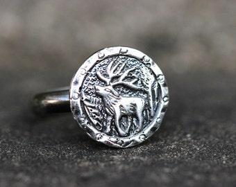Sterling Silver Stacking Ring Antler Ring Deer Ring Elk Ring Antler Jewelry Deer Antler Coin Ring Sterling Silver Jewelry