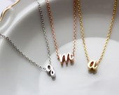 Initial Necklace, Cursive Rose Gold Silver or Gold, Script Letter Charm Custom Personalized Bridesmaid Gift Wedding Minimalist, Dainty