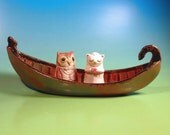 Fine Ceramic Art - Stoneware Boat - Whimsical Owl and Pussycat - Bride and Groom - White Cat
