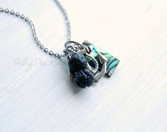 Diffuser Necklace, Anchor Necklace, Sea Shell Necklace, Gift for Her, Boho Necklace, Lava Rock, Abalone Pendant, Charm Necklace