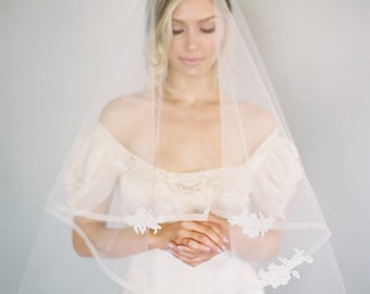 1/2 Inch Horsehair Veil, Chantilly Lace Edge Wedding Veil, Blusher Veil, Drop Veil, Double Layer Veil, Classic Veil, Ivory Veil, 1629