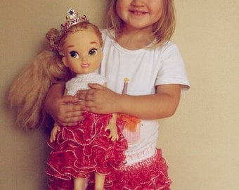 """PATTERN Ruffle Skirt for Toddlers and 18"""" Doll. Crocs Pattern. Skirt for 18 months, 24 months, 2T, 3T, 4T, 5T. Instant Download"""