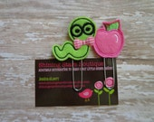 Planner Accessories - Lime Green Worm And Pink Apple Paper Clip Or Bookmark Set - Back To School Accessory For Teachers Or Students