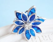 Poinsettia Holiday Ring - Crystal Silver Flower Ring - Sapphire Blue