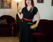 Vintage 1940s Dress - Captivating Black Rayon Crepe 40s Dress Leafy Soutache Appliqué and Keyhole Cutouts