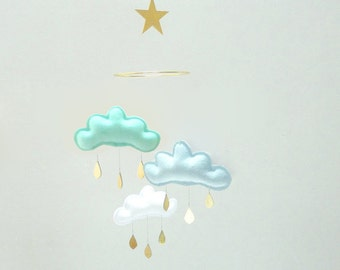 """Bestseller :Mobile """"JACK"""" White,Light blue, Mint mobile for nursery with gold star by The Butter Flying-Rain Cloud Mobile Nursery"""
