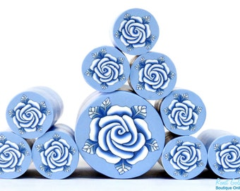 White & Royal Blue Polymer clay Rose Flower cane , raw and unbaked polymer clay millefiori Fimo cane by Ronit Golan - The Delft Collection