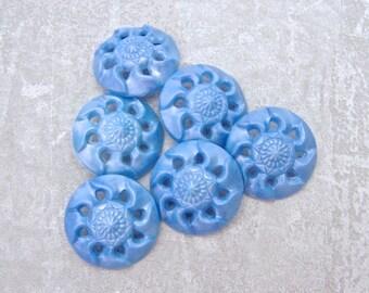 Pierced Flower Buttons 28mm - 1 1/8 inch Vintage Sky Blue Swirlback Flower Buttons - 6 VTG NOS Pale Blue Floral Plastic Shank Buttons PL390