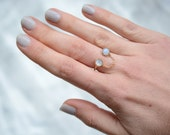 Moonstone open ring, chain ring, gold, brass, adjustable, bezel, two stone // BANDITS RING
