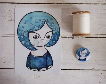 SET, blue night girl postcard + brooch