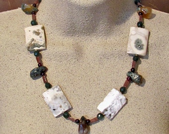 Necklace with Ocean Jasper, Garnet, Emerald Aventurine, and Agate ~ Earthy Woodsy Natural Colors Statement Necklace