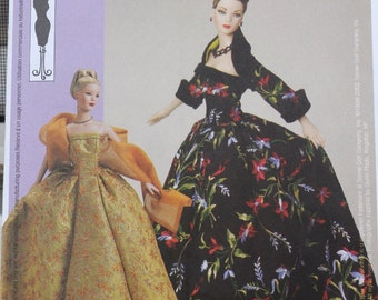 """McCall's 3702 - Beautiful Gowns for Tyler Wentworth or Other 16"""" Dolls - BJD - Gene - OOAK Crafting Pattern - Stole, Bolero Jacket - UNCUT"""