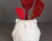 White elegant ceramic FAT OWL planter or kitchen caddy