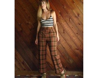 Plaid Brown High Waist Trousers Pants - Vintage 70s - S/M Petite