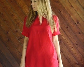 Red Silk s/s Tee Shirt Blouse - Vtg 90s - S/M