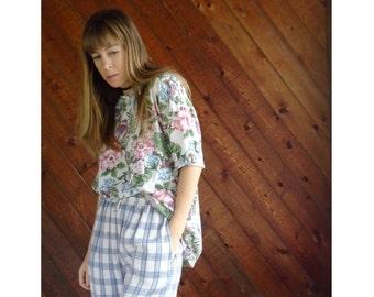 Floral Print s/s Oversize Tee Shirt - Vintage 90s - L