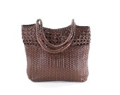 Ann Taylor Leather Bag Basket Bag Chocolate Brown Braided Woven Carryall Tote