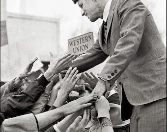 Robert F. Kennedy, CROWD GATHERING, Clyde Keller Photo, featured on the Huffington Post, Fine Art Print, Black and White, Signed