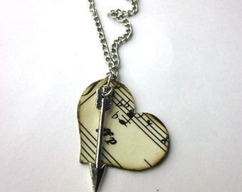 Heart shaped sheet music necklace, literary necklace, book jewelry, Joy of Music