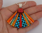 Dichroic Glass Pendant includes necklace Picasso Style Fan ~ Dichroic Creations