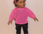 18 Inch Doll Outfit, Hot Pink Modern, Shirt, Sweater,  Black Pants, Straight Leg, Pleather Look, Tank Top,  American Made, Girl Doll Clothes