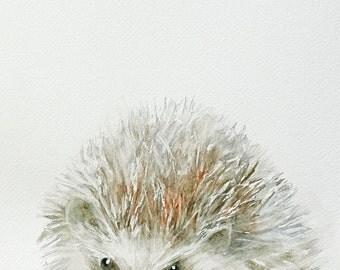 kid woodland nursery art print hedgehog painting of Hedgehog art PRINT hedgehog print hedgehog nursery print baby wall watercolor