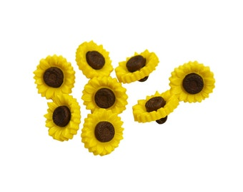 Set of 8 Plastic Novelty Floral Plant Themed Shank Buttons - Tiny Textured Dark Brown / Golden Yellow Summer Garden Sunflowers (13mm x 14mm)