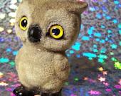 Vintage Flocked Figurine Josef Originals Japan Fuzzy Wazzy Baby Barn Owl , Hoot Owl Collectible Big Yellow Eyes