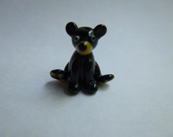 Black bear bead, handmade glass bear pendant, lampwork bear, grizzly